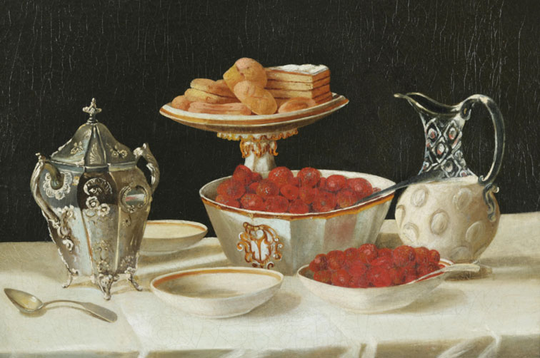 Still-Life-of-Strawberries-and-Cream,-John-F-Francis,-ca-1880,-privécollectie